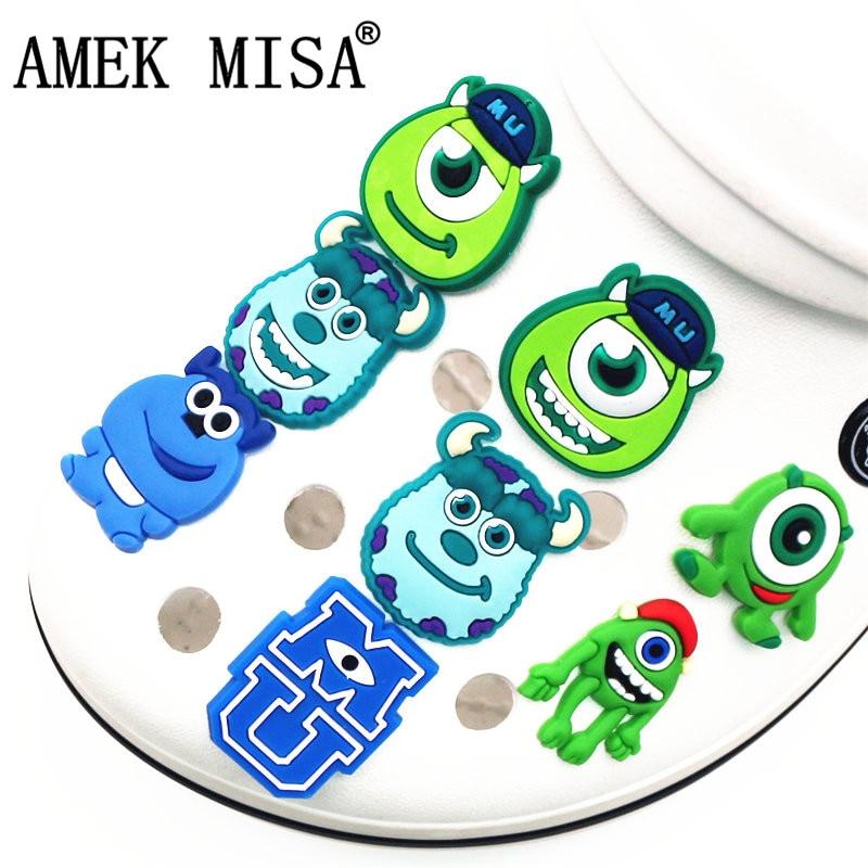Single Sale 1pcs PVC Shoe Charms Cartoon Monster Garden Shoe Buckle Decoration For Croc Wristband Jibz Kids Party X-mas Gift