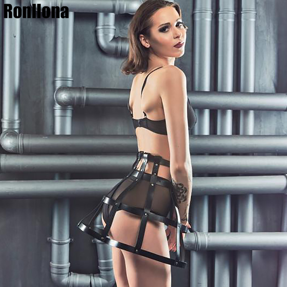 Leather Harness Dresses Punk Goth Dress Cage Lingerie Sexy Hot Erotic Harajuku Body Strap Bondage Garters Flirting Rave Night
