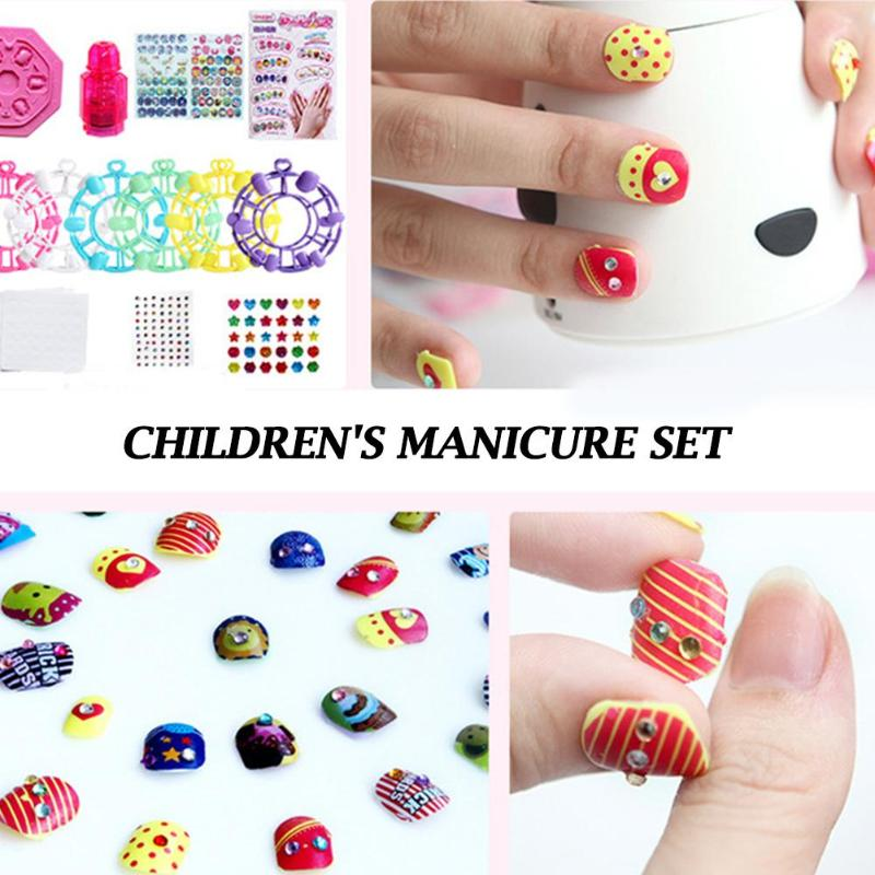 Child Girls DIY Nail Stickers Manicure Handmade Pretend Play Game Makeup Toy Set Install And Remove Conveniently Funny