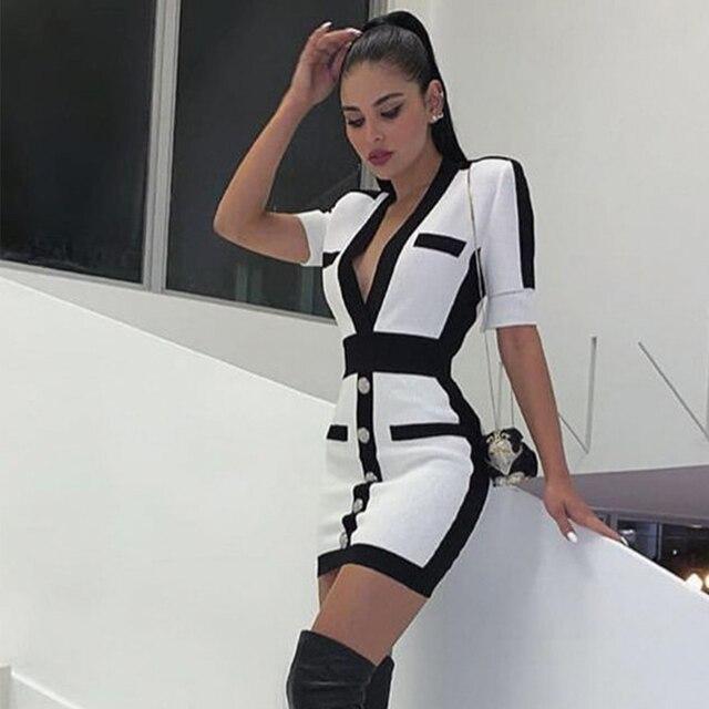 Seamyla New Women Bandage Dress Fashion Short Sleeve White Bodycon Celebrity Party Dresses Sexy V Neck Button Club Summer Dress 1