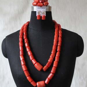 Image 2 - Più nuovo Dudo Dei Monili Africani Set di Gioielli Da Sposa Arancione Originale Branelli di Corallo Dei Monili Set Per Nigeriano Matrimoni Donne Libera La Nave