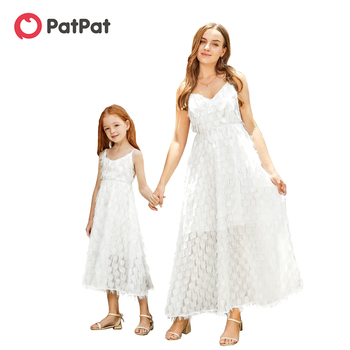 PatPat 2020 New Summer Fluffy Matching Long Dresses for Mommy and Me Matching Outfits Sleeveless Suspender Dresses