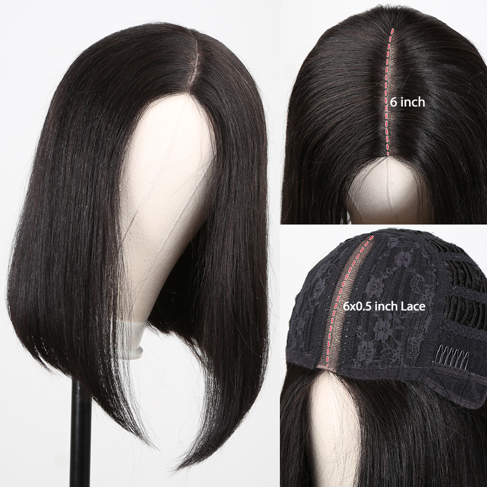 Wigirl Bob Wig 6x0.5 Lace Part  Human Hair Wigs Pre Plucked Peruvian Short Straight Frontal Wigs For Black Women Free Shipping