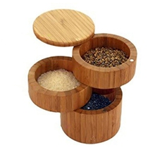 Salt-Box Peper Bamboo Creative Three-Layers with for Counter-Top And Drop-Ship