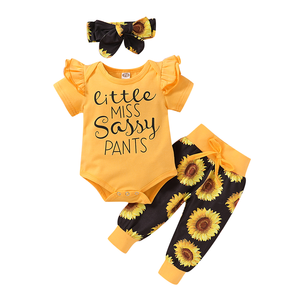 Toddler Baby Girl Outfits Set Short Sleeve White Letter Romper Long Sunflower Trouser Headband Cotton Clothing Set 3 Pics