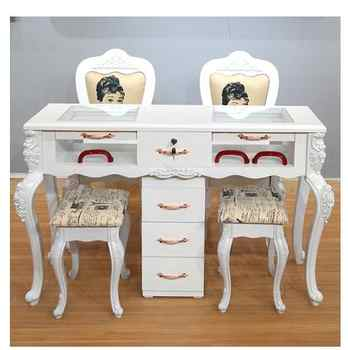 Online celebrity nail table and chair set special economical single and double three-person white nail table European nail table