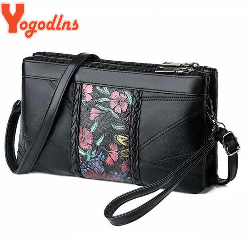 Yogodlns w stylu Vintage kwiat paskiem wzór Messenger torby kopertówka wieczorowa damska jakości tkania prawdziwej skóry na ramię Sling torebka