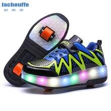 Светящиеся кроссовки черные, синие светодиодный светильник роликовые коньки обувь для детей светильник обувь с одним/двумя колесами светящаяся обувь для девочек