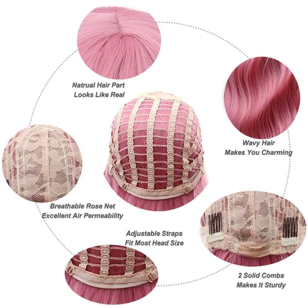 Krótki różowy fioletowy Bob peruka z grzywką dla kobiet krótkie faliste peruki kolorowe pastelowe peruki słodkie lolita cosplay kobiece codzienne włosy peruka