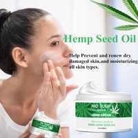 60g crema de aceite de semilla de cáñamo puro hidratante líneas finas suaves reafirmante tratamiento de la piel Anti-acné crema de Cara