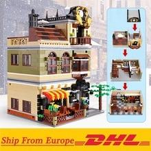 Children Toys Building-Blocks Creator-Bricks Architecture Restaurant-Model Modular City-Street-View