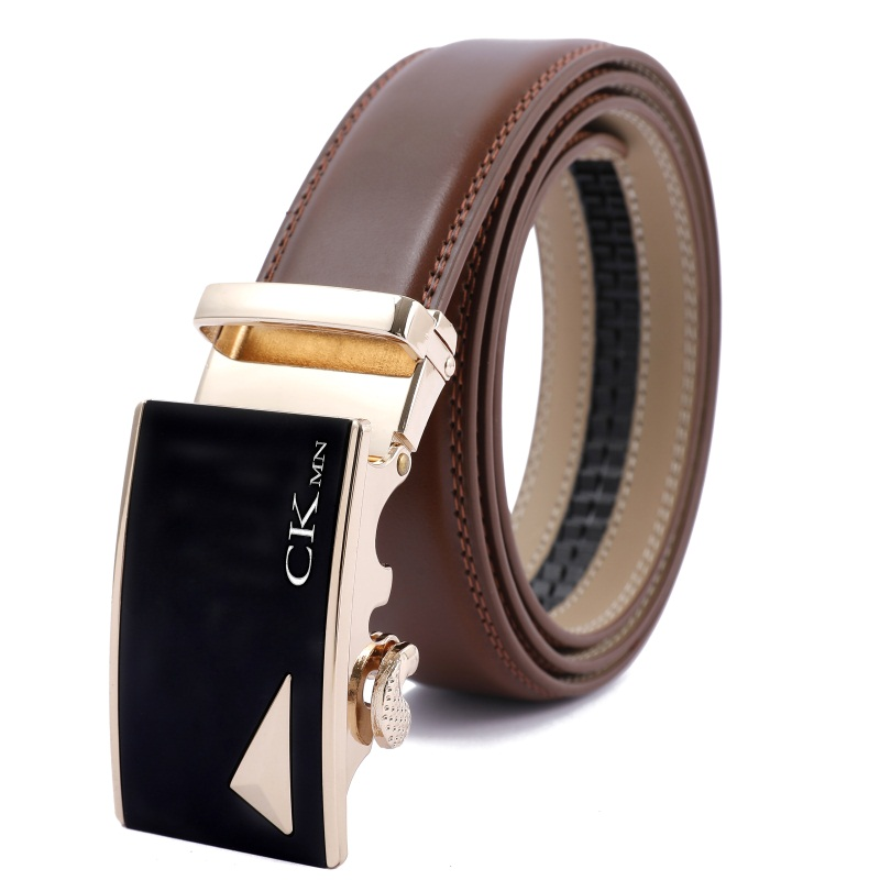Top Quality  Automatic Buckle Cow Man Belts Genuine Leather Belt Luxury Leather Belts