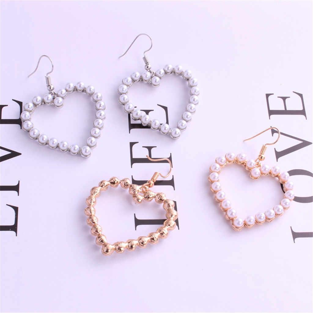 Anting-Anting untuk Wanita Laporan Fashion Wanita Mutiara Cinta Hati Hook Geometris DROP Menjuntai Perhiasan Hadiah Drop Anting-Anting Perhiasan