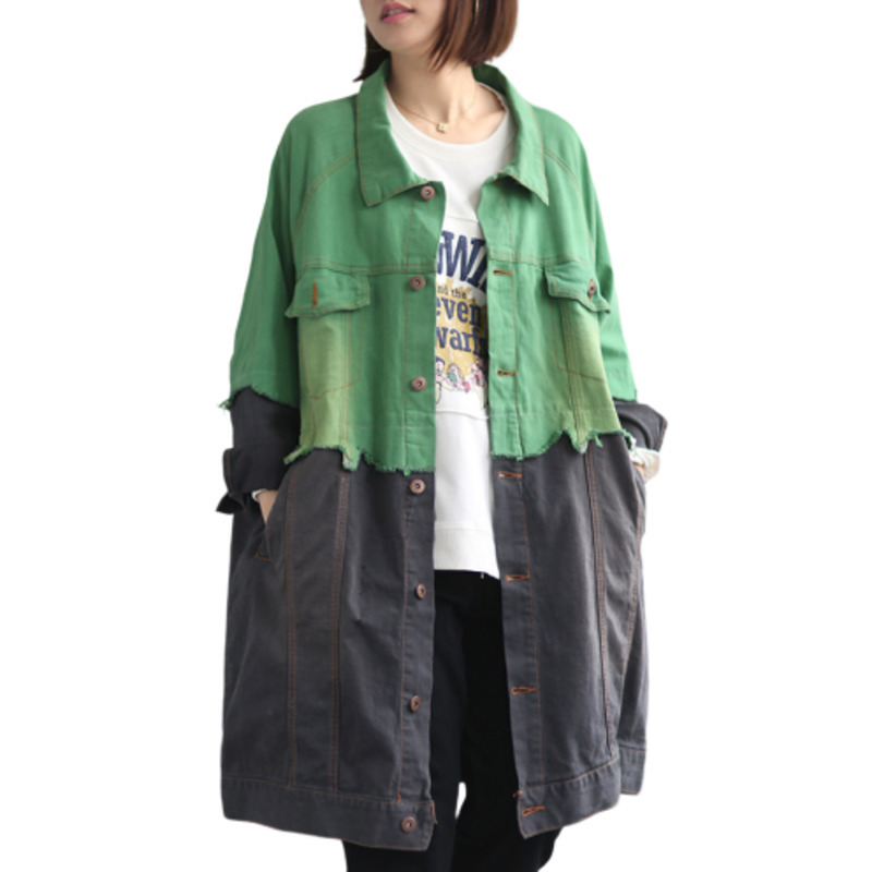 Autumn Denim Jeans Jacket Women Wash Cowboy Windbreaker Loose Long Coat Patchwok Moda Mujer Vintage Plus Size Female Coats Tunic