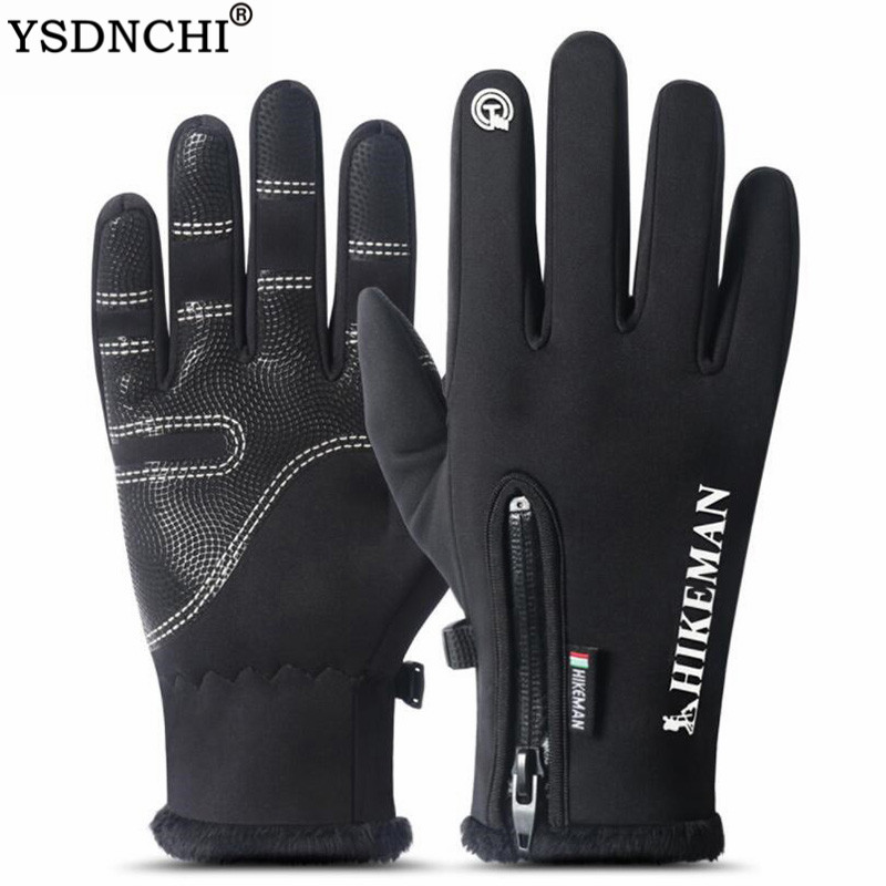 YSDNCHI Waterproof Touched Screen Gloves Running Winter Men Women Windproof Cycling Motorcycle Mittens Non-slip Warm Gloves