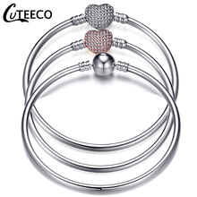 CUTEECO 2019 New Fashion Love Silver Color Charm Bracelet Bangle High Quality Original Fine Bracelets For Women Girl Jewelry