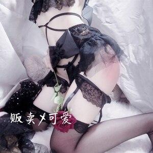 Image 2 - Japanese Womens Sexy Cosplay Costume Lingerie Set Strappy Corset Night Sleepwear Underwear Dress Demon Anime Lingerie
