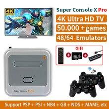 Super console x pro s905x sistema wi-fi hdmi mini retro tv consolas de jogos de vídeo 50 + emuladores 50000 + jogo jogador para ps1/n64