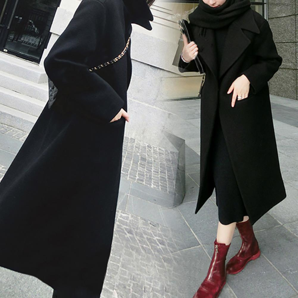 New Women Winter Solid Color Lapel Collar Thicken Slim Long Trench Coat Warm Outwear