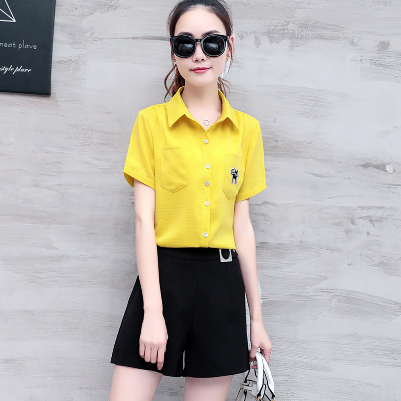 Fashion WOMEN'S Suit Summer Slimming WOMEN'S Dress Korean-style Elegant Short-sleeved Shirt Shorts Casual Two-Piece Set Student