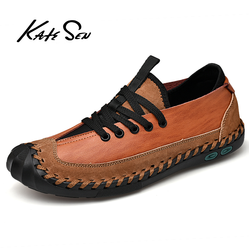 KATESEN Men Shoes Genuine Leather Shoes Fashion Casual Shoes For Men Handmade Shoes Soft Breathable Big Size Comfort Loafers
