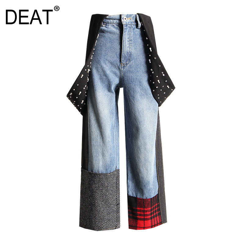DEAT New 2020 Summer Straps High Waist Straight Full Length Denim Patchwork Deading Plaided Pants Female Jeans WL69317L