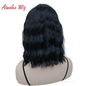 Image 4 - Aimolee frauen Medium länge Lockige Schwarze Perücke Natura Ordentlich Bang Stil Synthetische Perücken Haar