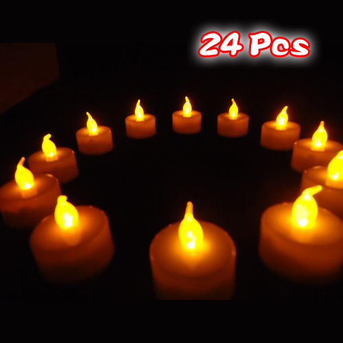 24 Flickering Candle Set Runs On Batteries Flickers Candle Battery Operated Tealight Candles Flameless Candle Wedding Tea Light
