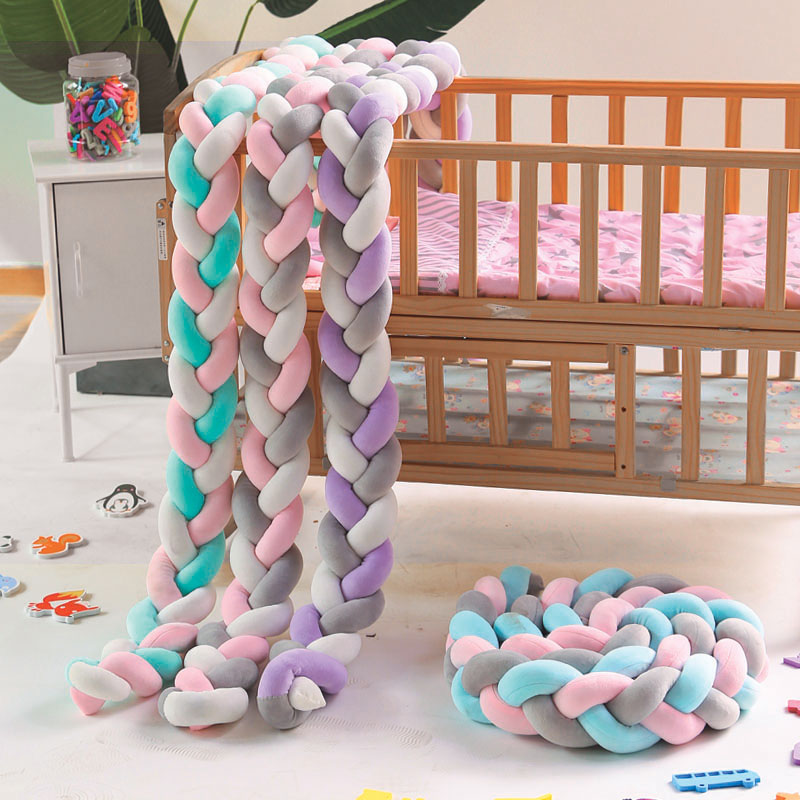 2M3M 4M 3 Knot Soft Baby Bed Bumper Crib Sides 3 Braid  Newborn Crib Pad Protection Cot Bumpers Bedding For Infant