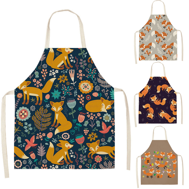 Fox Aprons Unisex Dinner Party Linen Nordic Cooking Bib Funny Pinafore Cleaning Aprons Home Accessory