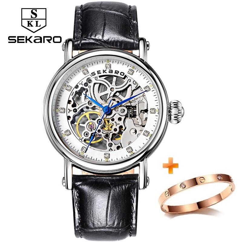 SEKARO Brand Women Mechanical Watches Diamond Ladies hand-winding Wristwatches Leather Fashion Skeleton Dial Gift for Female