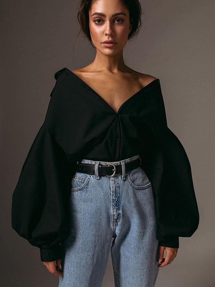 Women Blouses Lantern Sleeves Solid-Shirt Streetwear Lapel Loose Slim-Button Autumn Fashion