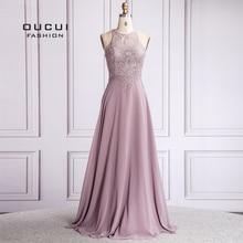 С О-образным вырезом для женщин; Большие размеры вечернее платье халат De Soiree шифоновое Элегантное Длинное вечерние платье для свадебных торжеств; платье без рукавов OL103572