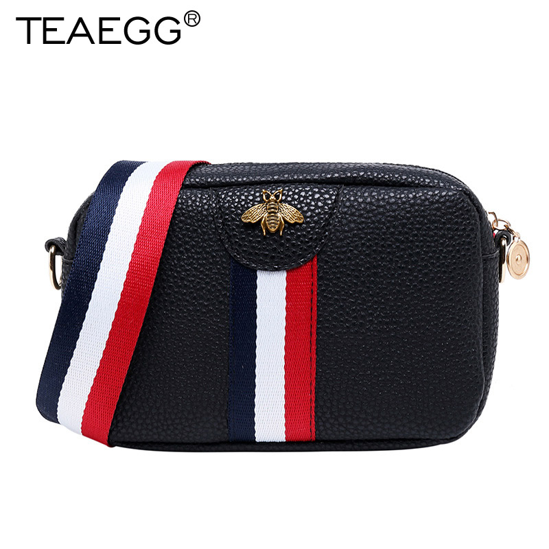TEAEGG Fashion Design Women Bee Striped Shoulder Bag Handbags CrossBody Lattice Mini Female Messenger Bags Bolsas Feminina