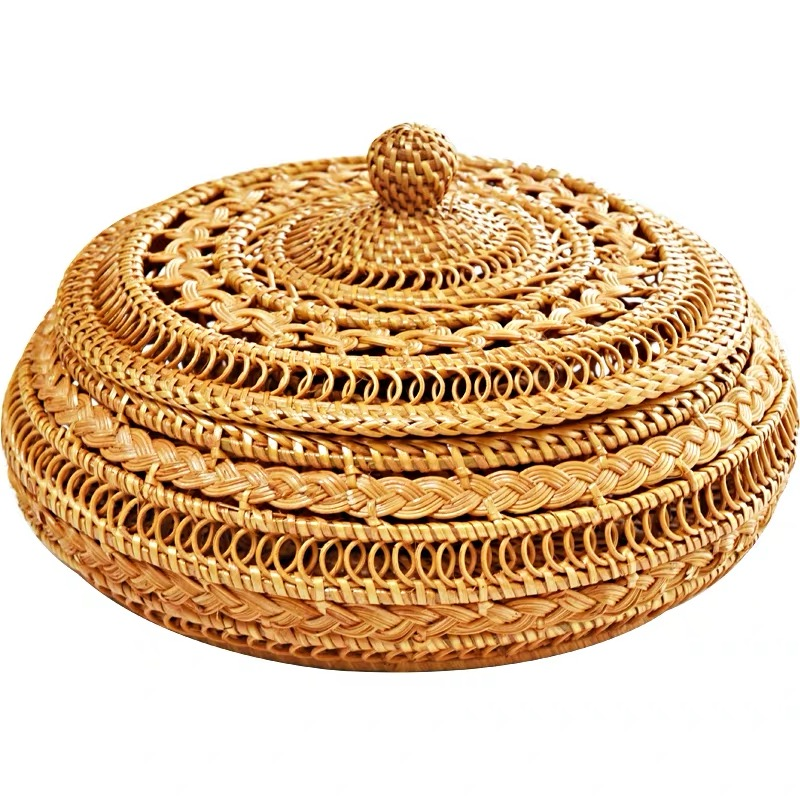 Handmade Bamboo Woven Tea Cake Storage Box Canister Kitchen Container L