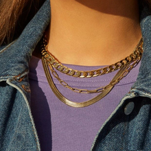 2020 Multi-layer Clavicle Initial Necklaces Snake Chains Choker Gold Color Link Chain Necklace for Women Vintage jewelry