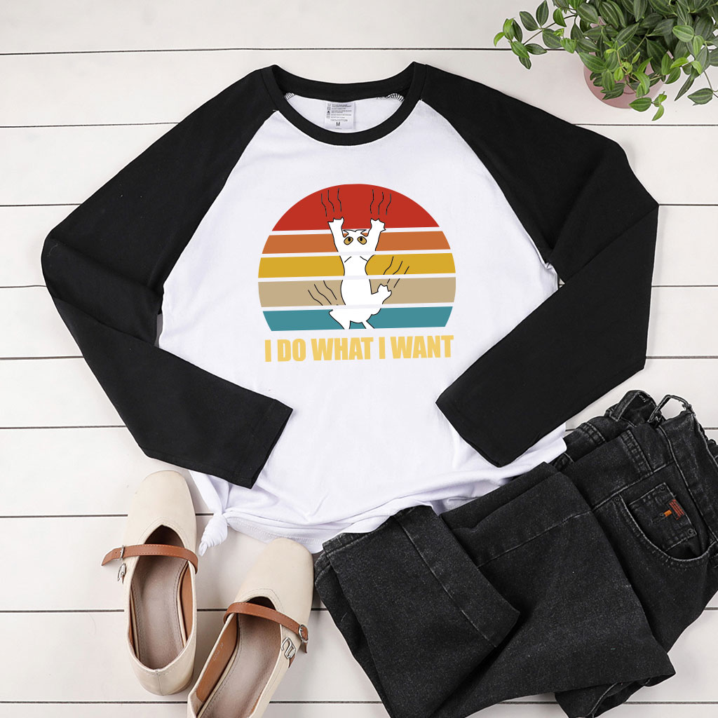 I Do What I Want Print Long Sleeve T-shirts Women Autumn Winter Tops for Women Fashion Crew Neck Two-tone Stiching Woman Tshirt image