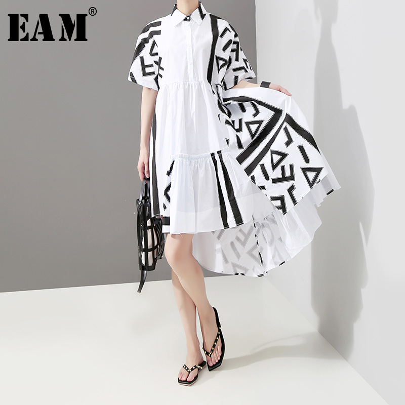 [EAM] Women Back Long Pattern Printed Big Size Shirt Dress New Lapel Short Sleeve Loose Fit Fashion Spring Summer 2020 1T435