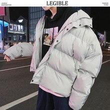 Разборчивый высококачественный хип-хоп Мужская зимняя куртка одежда свободные Harajuku мужские пальто со стоячим воротником Мужская ветровка