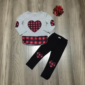 Image 1 - Valentines day baby girls children clothes set outfits boutique gray plaid love heart shape patch ruffle pants cotton match bow