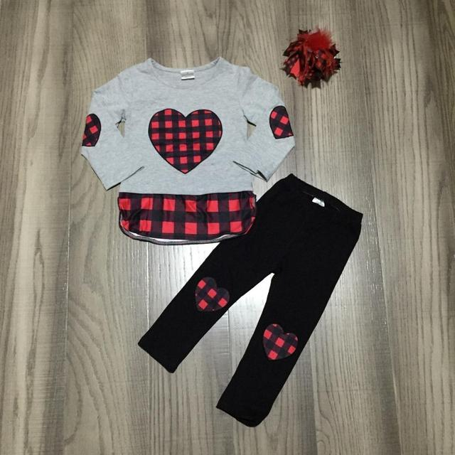 Valentines day baby girls children clothes set outfits boutique gray plaid love heart shape patch ruffle pants cotton match bow