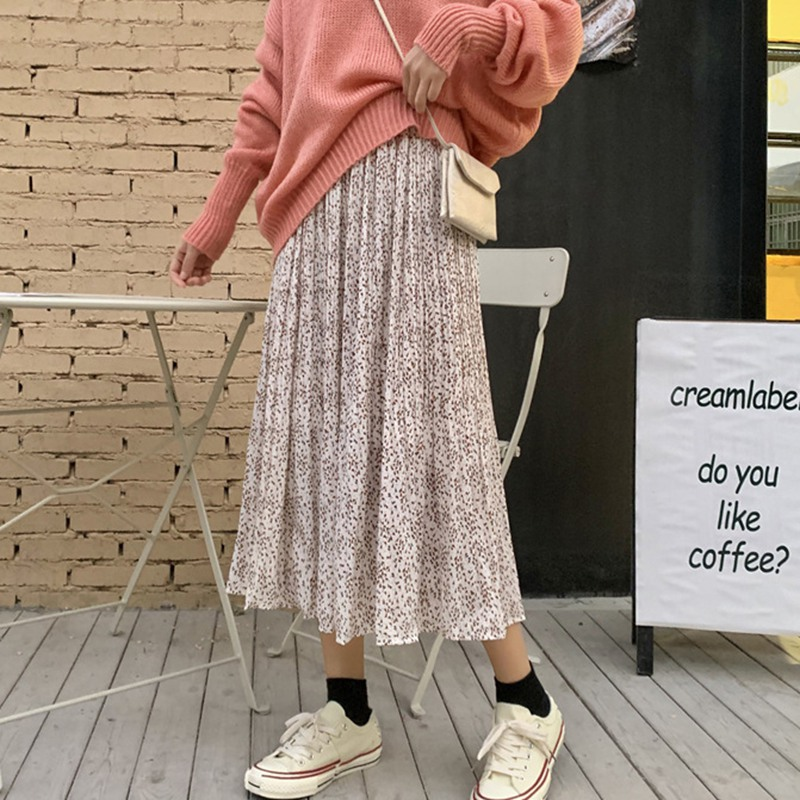 Literary Style Casual Floral Print Skirts Sweet Girl Elastic Waist Pleated Skirt Casual Ladies Mid-Calf Skirts