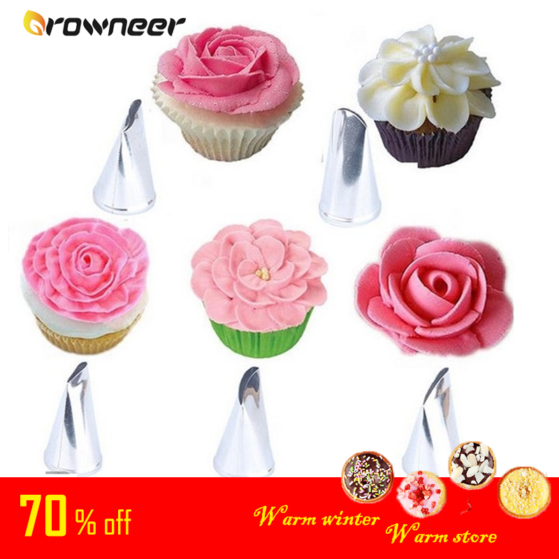 Stainless Steel Icing Piping Nozzles Flower Mounting Nozzle DIY Cream Baking Pastry Tool Fondant Cookie Rose Cake Decorating Tip