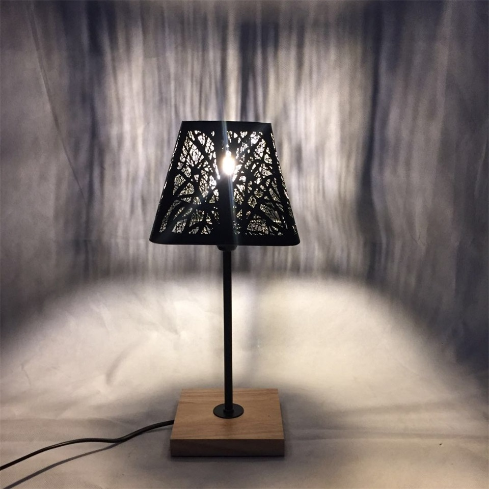 Image 4 - OYGROUP Modern Small Bedside Lamp with Wood Base Black Metal Stick and Hollow Lampshade E14 Table Lamp Room Decoration NO BULBTable Lamps   -