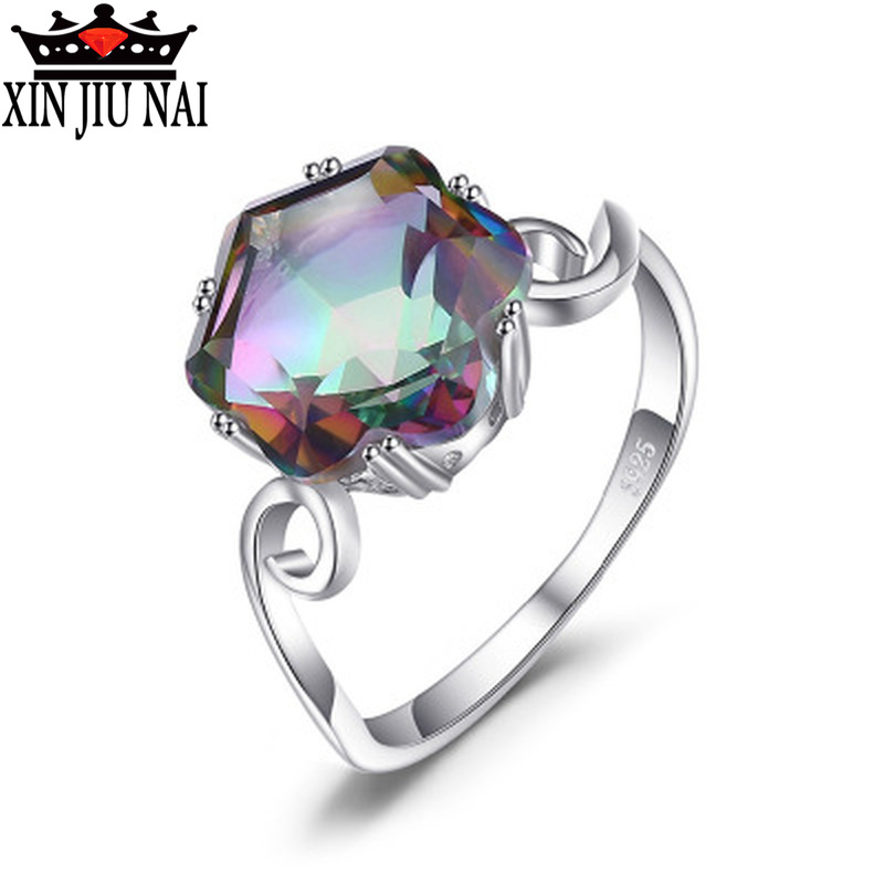 Fashion Women Rainbow Fire Mysterious Topaz High Quality AAA Zircon CZ Engagement Ring Rhod Jewelry Party Gift