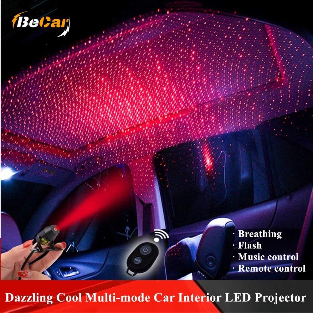Dazzling Cool Multi-Mode Auto Interieur Led Projector Auto Dak Volledige Star Projectie Laser Lamp Auto Dak Ster Led interieur Thuis