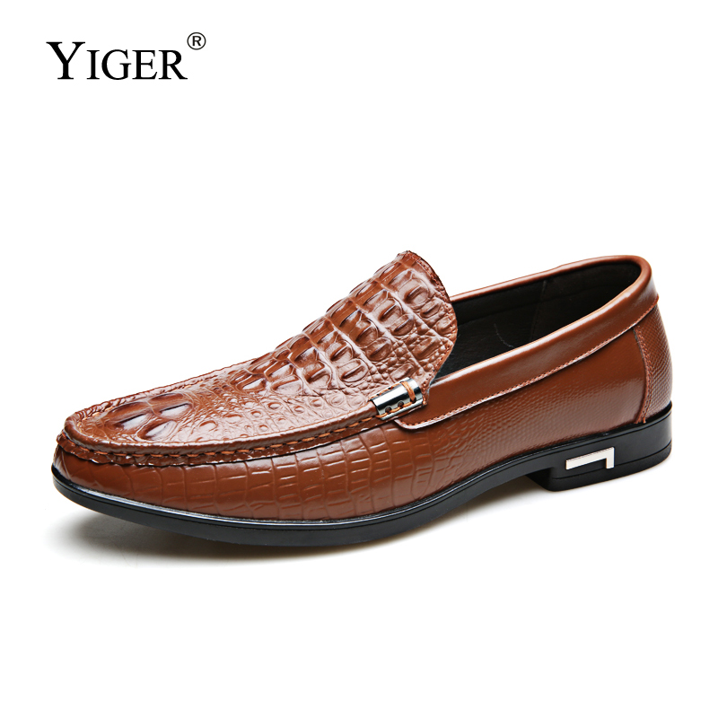 YIGER new Men loafers soft leather man casual shoes Crocodile pattern Peas male slip-on spring autumn 0366