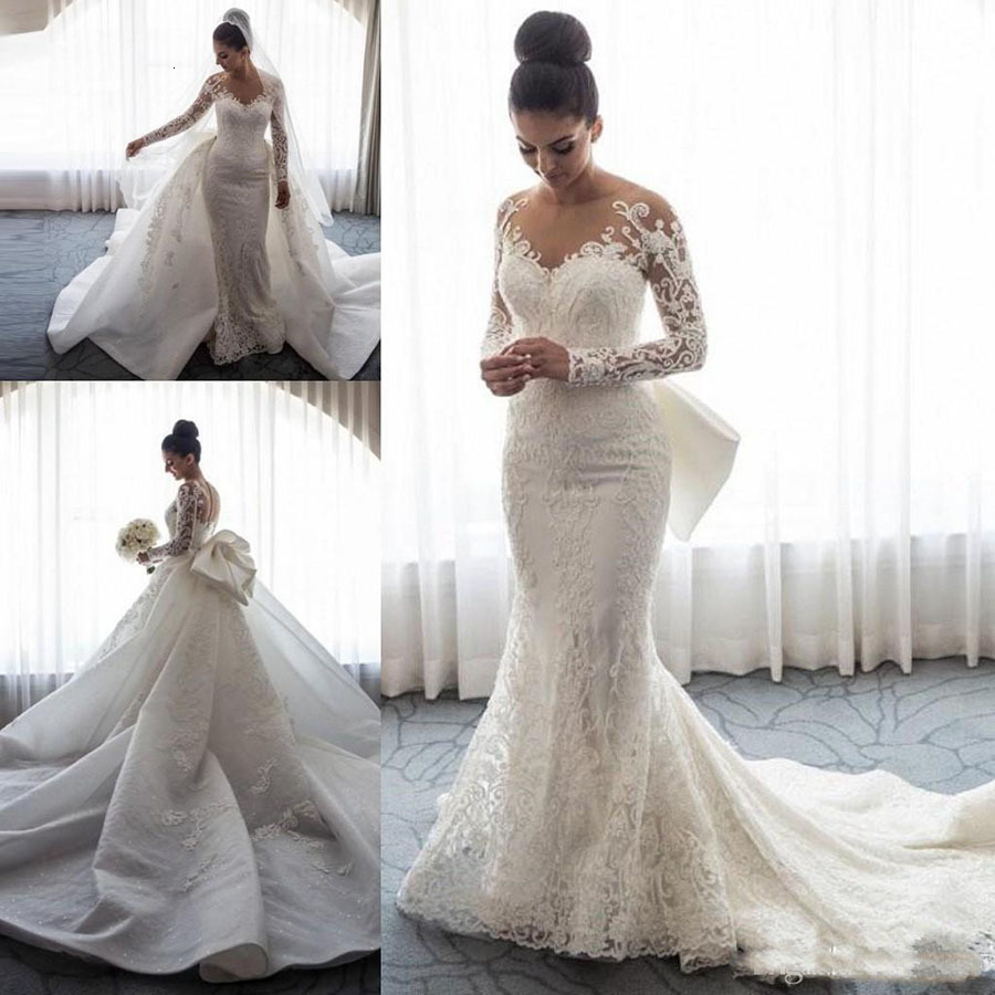 Wedding-Dresses Train Overskirts-Button Lace Applique Long-Sleeves Back-Chapel Mermaid