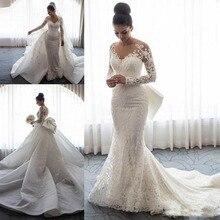 2020 luxe sirène robes de mariée col transparent manches longues Illusion pleine dentelle Applique nœud surjupes bouton dos chapelle Train
