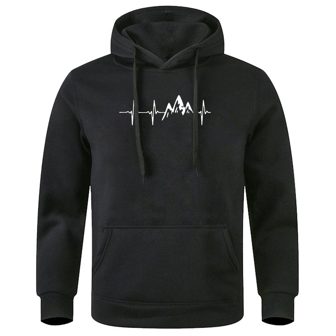 Winter Coat Men's Tracksuit Electrocardiogram Love Print Clothes Man Warm Brief Hooded Harajuku Sweatshirts Men Top Hoodies
